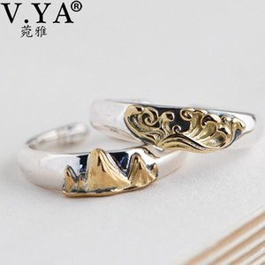 V.YA 925 Sterling Silver Promise Rings for Couples Engagement Rings Set Literary Creative Male and Female Open Ring Fine Jewelry