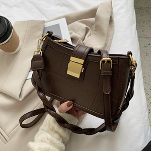 Solid Color Thick Leather Crossbody Bags For Women 2021 Summer Shoulder Cross Body Bag Ladies Handbags