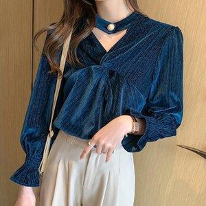 Women's Blouses & Shirts Fashion Women's Shirt Golden Velvet Women Lomg Sleeve Top Vintage Folds V-neck Clothing Female 2021 Basic Blous