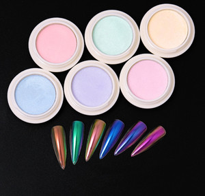 NEW Solid Laser Powder Nail Magic Mirror Effect Powder Mermaid Magic Aurora Thunder Powder dhl free shipping