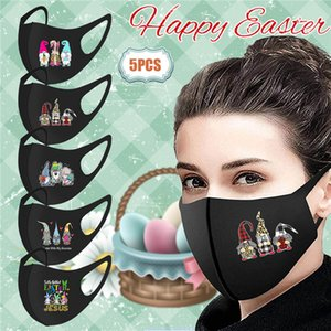 Easter Face Mask Cover Mouth for Women Men Fashion Reusable Washable Breathable Rabbit Printed Masks Outdoor Dust-proof Mask Kimter-K567FA
