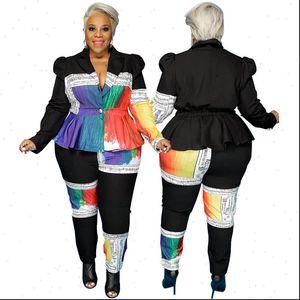 Plus Size Clothing Two Womens Pants Piece Set Long Sleeve Elastic Waist Tops Elegant Suit Women Blazer Sweat Wholesale