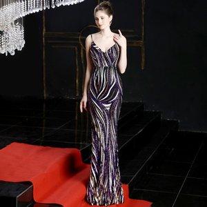 Mujeres Profunda v fuera del hombro Vestidos de respaldo Female Retro Maxi Vestido elegante Stripe Stripe Slim Cena Host Annual Dress Gtut