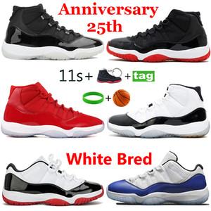 Лучшие продажи 25-летие 11s 11s Баскетбольные туфли Космический джем 11 Низкий белый Concord 45 Кроссовки Гамма Синие Мужчины Бегущие тренажеры