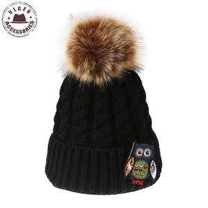 Ulgen New Series Handicraft Owl Grochet Berryies Berry Donne Cappelli invernali Original Warm Beanie Cappello con Pompon Pompom