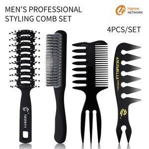 Foreign trade men's shape comb set retro backgap head comb texture double-sided insert combing ribs health massage comb