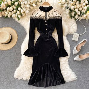 Mujer nueva moda otoño e invierno cuello redondo perspectiva malla costura retro terciopelo vestido largo manga elegante vestidos Q572