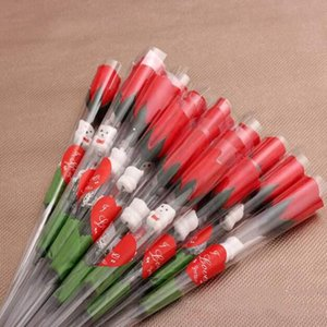 Simulation Rose Flower Single Roses Roses Single Cartoon Ours avec un autocollant en forme de coeur Saint Valentin Fournitures de mariage WY1120