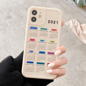 2021 nuevo caso de fecha de calendario para iPhone 11 12 Pro Max XR x 7 8 Plus Soft TPU Funda