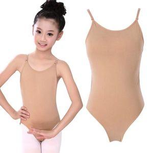 INS Children Sexy Seamless Camisole Skin Gymnastics Leotard Girls Kids Dance Ballet Underwear Nude Leotard Bodysuit Jumpsuits