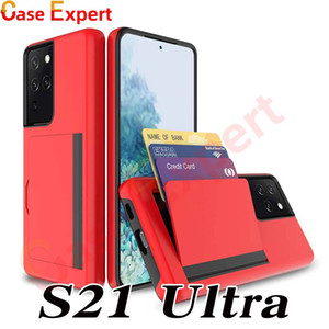 Hybrid Armor Dual Layer Card Holder Defender Cases for iPhone 12 Pro Max XR XS Samsung S21 Ultra Note 20 Stylo 5 K40