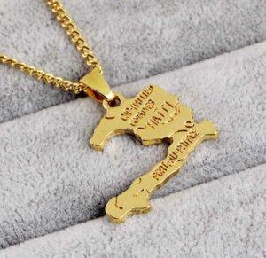 New Haiti Map Necklace Pendants for Women Girls,Ayiti Gold Color Jewelry Gifts Map of Haiti choker ps0268
