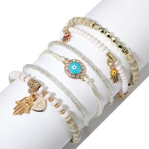 6 pcs / set Bohemian Bohemian Breaded Bracelets pour femmes MultiLouche Stretch Bracelet Empilable Ensemble de bijoux multicolores 126 T2