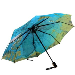Creative Full Automatic Three-fold Blue Map Umbrella Rain Woman Personality Folding Ultra-light Sun Travel Man Anti-UV Umbrella