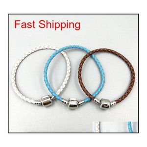 High Quality Fine Jewelry Woven 100% Genuine Leather Bracelet Mix Size 925 Silver Clasp Bead Fits Pandora Charms Br qylWBx beauty888