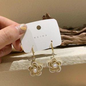 Dangle & Chandelier 2021 Arrival Trendy Crystal Imitation Pearl Hollow Flower Earrings For Women Fashion National Style Sweet Jewelry