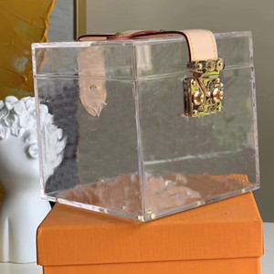 Bolsas cosméticas transparente transparente bolso de mano antiguo floral orgánico vidrio dama pequeña casos cosméticos cuadrados con cinta damas PVC maquillaje bolsa