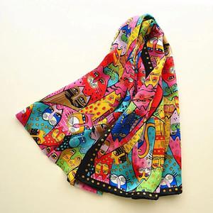 New Spring 100% Real Silk Scarf Women Designer Cat Print Shawl Foulard for Ladies Soft Silk Wrap Femme Long Bandana SILKL006