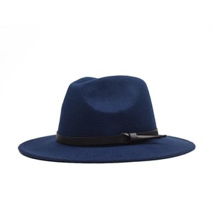 Fall   Winter 2021 Korean Version of The Flat Woolen Hat, Belt, Big Eaves Felt Hat, Plain Weave Hat, Europe and America