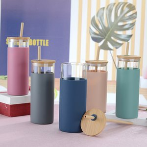 Glass Straw Cup with Bamboo Cover Bamboo Straw Glass Tumblers with Silicone Bottle Cover 480ml customizable logo XD24562