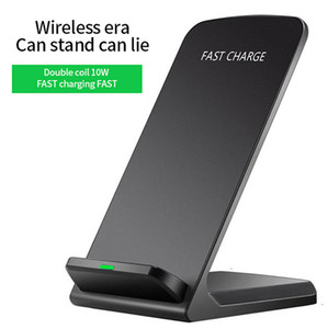Portable 5W 10W Fast Wireless Charger Mobile Phone Holder USB Qi Vertical Charging Pad Induction Dual Coil Charger