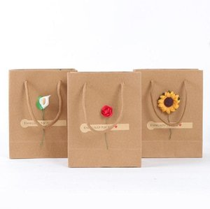 300pcs lot Kraft Paper Tote Bag Rope Handle Shopping Bag Hand Carry Pouch Gift Bag For Birthday Christmas Holiday Gift Wholesale