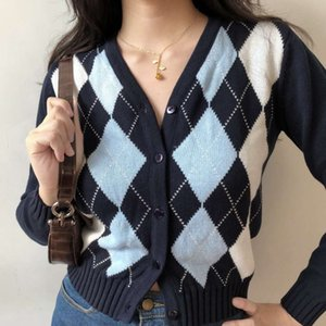 girl Go American V-neck rhombic Long Sleeve Jacket knitted with cardigan women's autumn coat
