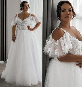 White Plus Size Wedding Dress A Line Sexy V Neck Straps Off The Shoulder Bridal Gowns Corset UP Back Sweep Train Lace Marriage Dresses