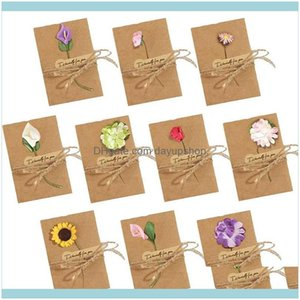 Event Festive Supplies Home & Gardendried Flowers Cards, 50Pcs Handmade Greeting Cards Vintage Kraft Blank Note Card Thank Notes For Birthda