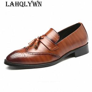 Zapatos de cuero de la borla Hombres Buirsness Pisos Vestido brillante Calzado masculino Oficina de trabajo Oxford zapatos para hombres H208 I8st #