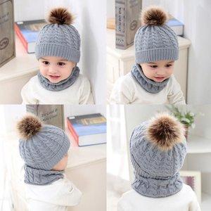 Caps & Hats 2 Pcs Baby Hat Scarf Set Knitted Autumn Winter Infant Toddler Bonnet Accessories Children Collar Cap for kid
