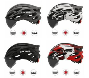 Road mountain bike riding helmet with lens and brim tail light goggles helmet four seasons safety equipment ultra light