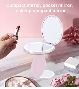 Portable LED makeup mirror gadgets to fill the repair artifact for girlfriend small surprise big heart gift charging model 2 times magnification ultra-thin