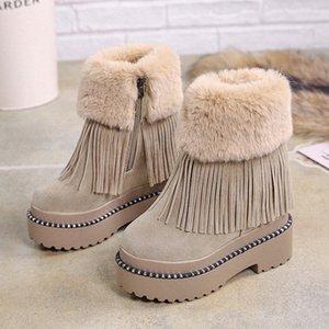 Lucyever Womens Casual Tassel Botas de tobillo Mantenga la piel caliente Botas de nieve de invierno Ladies Plataforma gruesa cuñas ocultas Botas Mujeres R9SF #