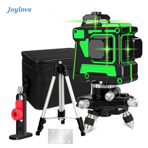 JOYLOVE Glistening Green 12-Line Laser Level Meter Automatic Leveling Remote Control 3D Wall Sticking Instrument High Precision