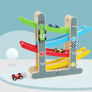 Kids Montessori Ladder Gliding Wooden Slot Track Car Educational Toys Model Vehicles Slide Toy for Children Gift