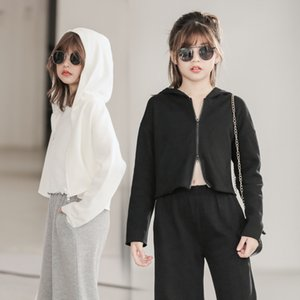 Children's Hooded Autumn Winter 2021 Solid Color Black and White Long Sleeve Loose Casual Versatile Warm Zipper Sweater for Women