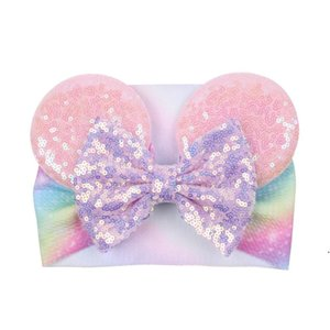 Big bow wide haidband cute baby girls hair accessories sequined mouse ear girl headband new design holidays makeup costume band AHD4943