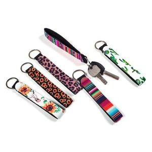 22 Stili Kistband Keychains Floral Stampato Chiave a chiave in neoprene Portachiavi Portachiavi Keychain Party Favore all'ingrosso 3 S2
