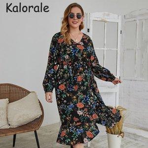 Повседневные платья сексуальные V-шеи Цветочные напечатанные платья Женщины плюс размер с длинным рукавом свободная весна осень MIDI Big Shife 2021