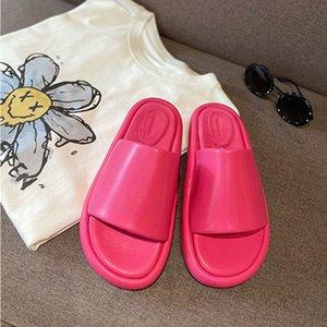 Ayakkabı Adam Sandal Scasual Yüksek Topuklu Süper Taban Sof Tsheepskin Terlik Kadın Yaz Giyim 2021 Alt Tüm Maç Hafif Tek Kelime Sürükle NE
