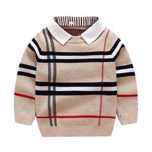 Pullover Lovely Baby Sweater Girls Boys Stripe Turn-Down Collar Kids Long Sleeved Knit Children Casual Tops