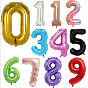 Wholesale 40 inch Number Balloons 50pcs lot 0-9 Numbers Aluminium Foil Balloons Birthday & Wedding Party Decoration