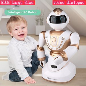 51CM Large Size RC Robot Toy Head Hand Turn LED expression voice dialogue intelligent Sorts robot Interactive light Music Toy