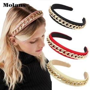 Molans Black Deedband Alloy Cadena Hairband Head Bezel Color Sólido Ancho Turban Diadema Hoop de pelo para las mujeres Accesorios para el cabello
