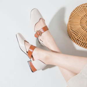 Sandals Closed Heel Large Size Female Shoe Med Shallow Mouth Big Girls Fashion Beige Medium Comfort Buckle Strap Casual Square h