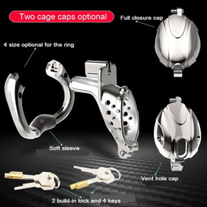 2021 New Arrival Openable Ring Quick Disassemble Cap Flip Design Male Metal Cock Cage Stainless Steel Chastity Device Adult Sex Toy A510-24