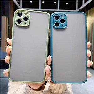 Casos de telefone fosco para iphone 12 11 xs max xr 7 pro clareamento à prova de choque transparente caso de armadura de caixa dura em saco de opp
