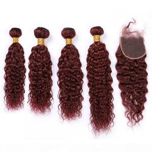 99J вина красные человеческие волосы 4 мокрые и волнистые и замыкание Бургундия красная малазийская водяная волна девственница кружевных волос закрывается с помощью Weives 4