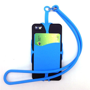 Universal Phone Soft Elastic Silicone Cover With Card Pocket Neck Strap Case For Iphone Android Phone Free DHL
